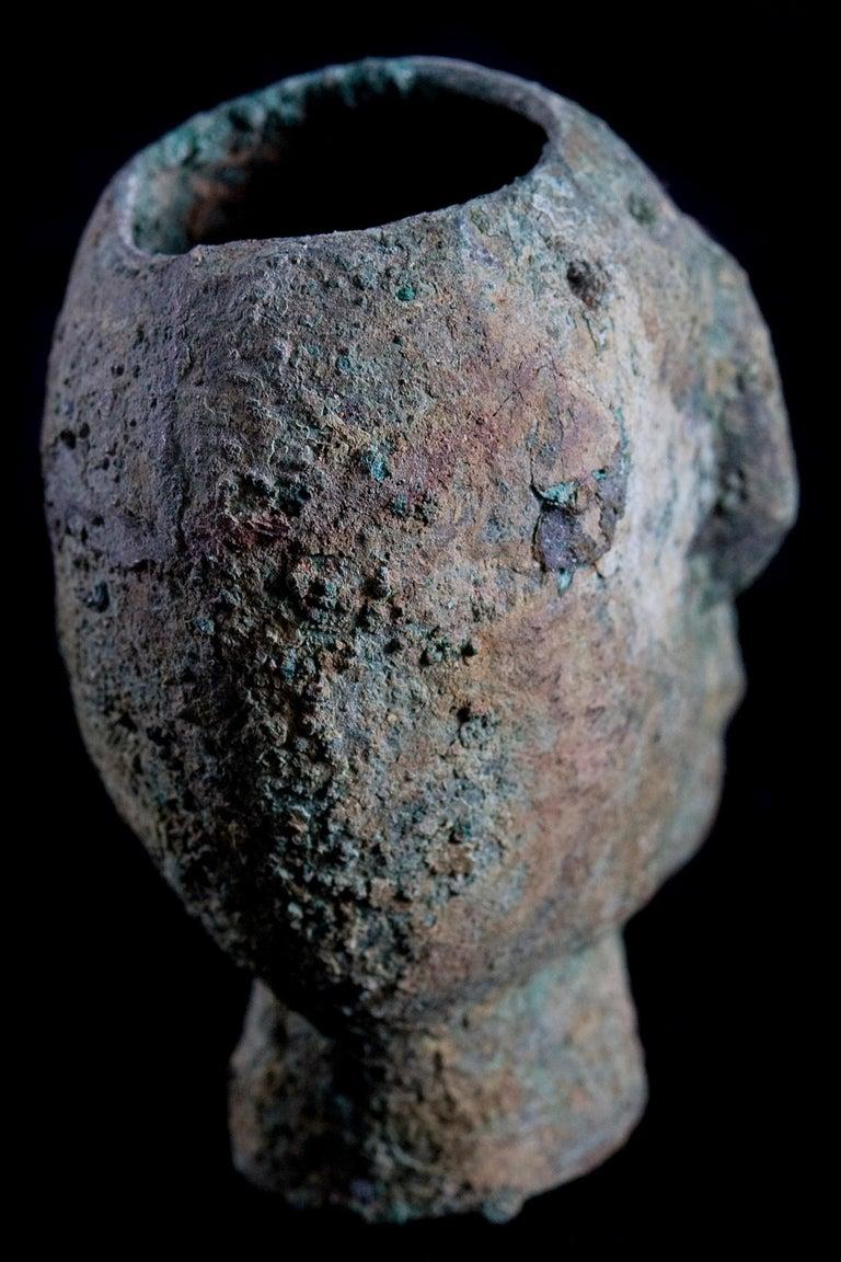 Rare Pre-Columbian Moche Copper Skull Vessel, Peru, circa 200-500 AD For Sale 2