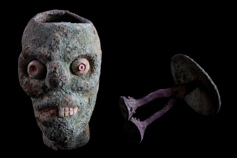 Rare Pre-Columbian Moche Copper Skull Vessel, Peru, circa 200-500 AD For Sale 3