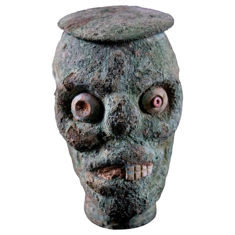 Rare Pre-Columbian Moche Copper Skull Vessel, Peru, circa 200-500 AD For Sale