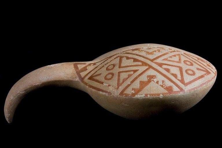 Rare Pre-Columbian Zoomorphic Moche Painted Incensor, Peru, circa 100-700 AD In Good Condition For Sale In San Pedro Garza Garcia, Nuevo Leon