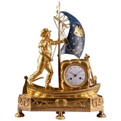 "Rare prestigious French Directoire Clock ""Skipper on his boat"""