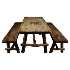 Rare Primitive Dining Set from France, circa 1950