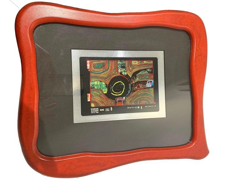Post-Modern Rare Print by Hundertwasser Haus in Wood Red Framed For Sale