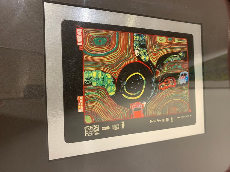 Austrian Rare Print by Hundertwasser Haus in Wood Red Framed For Sale