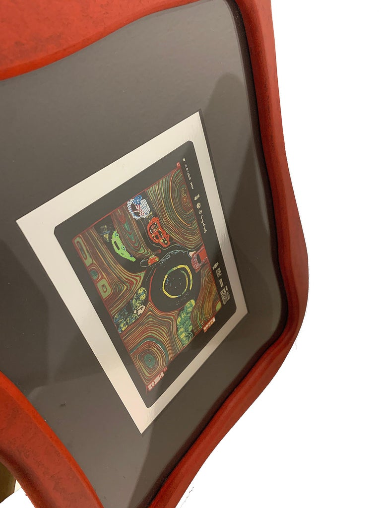Rare Print by Hundertwasser Haus in Wood Red Framed In Excellent Condition For Sale In San Diego, CA