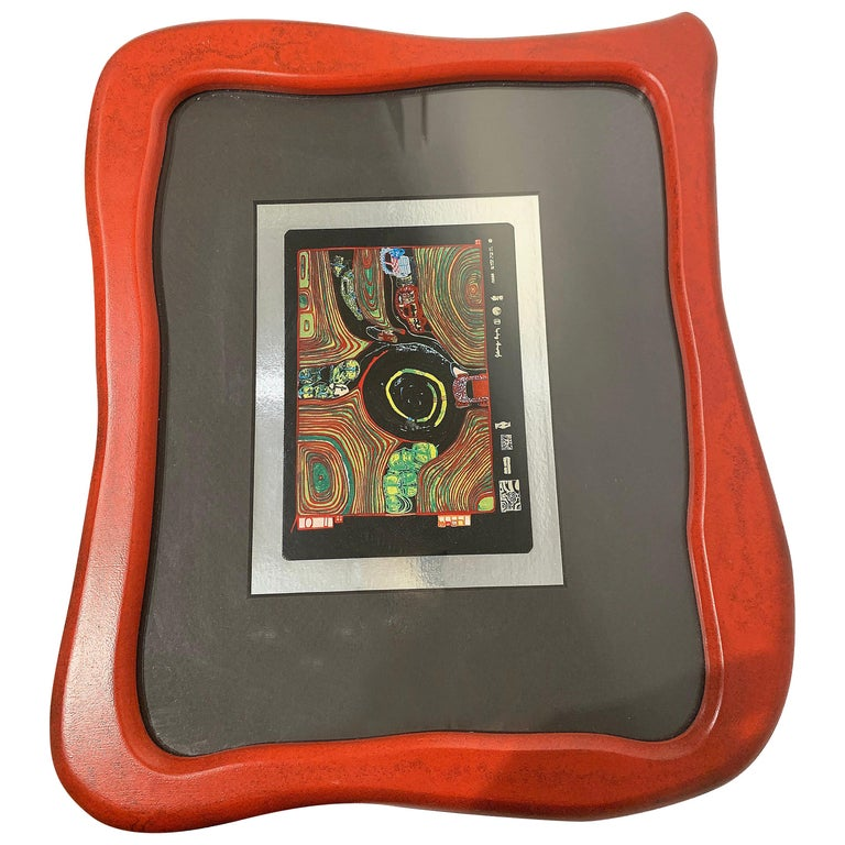 Rare Print by Hundertwasser Haus in Wood Red Framed For Sale