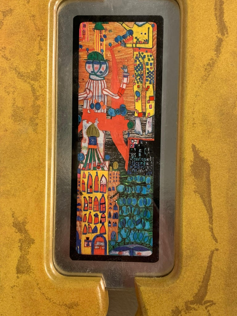 Rare Print by Hundertwasser Yellow Frame, 1989 In Excellent Condition For Sale In San Diego, CA