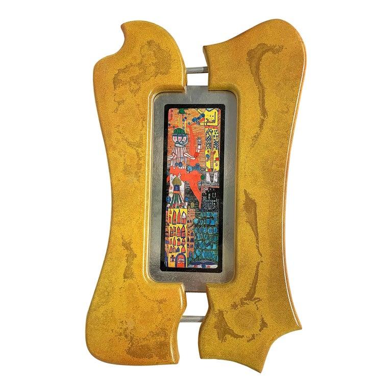 Rare Print by Hundertwasser Yellow Frame, 1989 For Sale