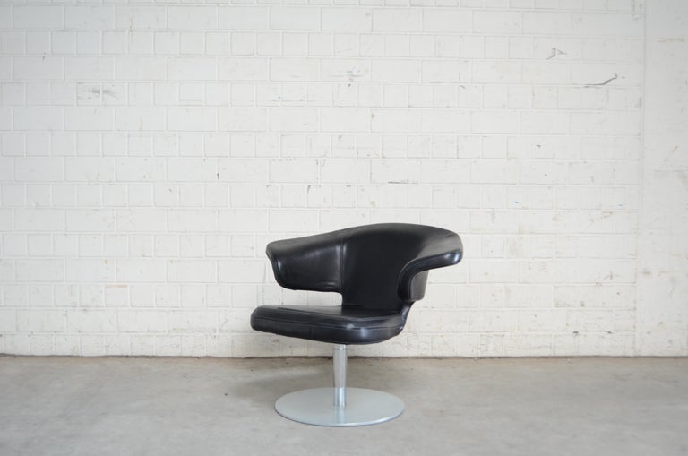 Rare Prototype of ClassiCon Munich Lounge Chair Black Leather For Sale 5