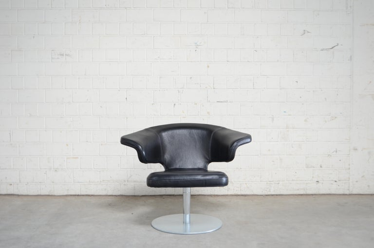 Modern Rare Prototype of ClassiCon Munich Lounge Chair Black Leather For Sale