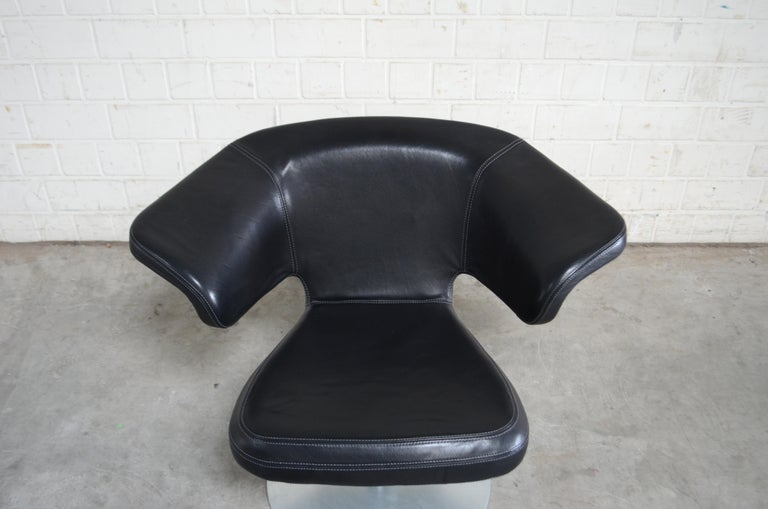 German Rare Prototype of ClassiCon Munich Lounge Chair Black Leather For Sale