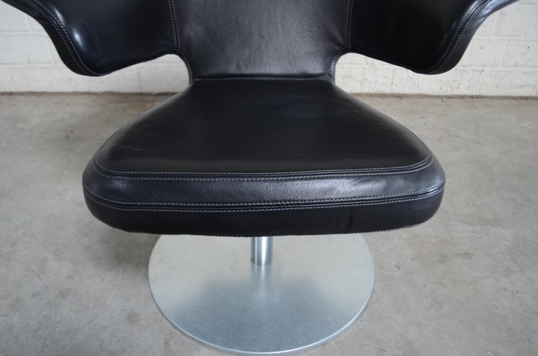Contemporary Rare Prototype of ClassiCon Munich Lounge Chair Black Leather For Sale