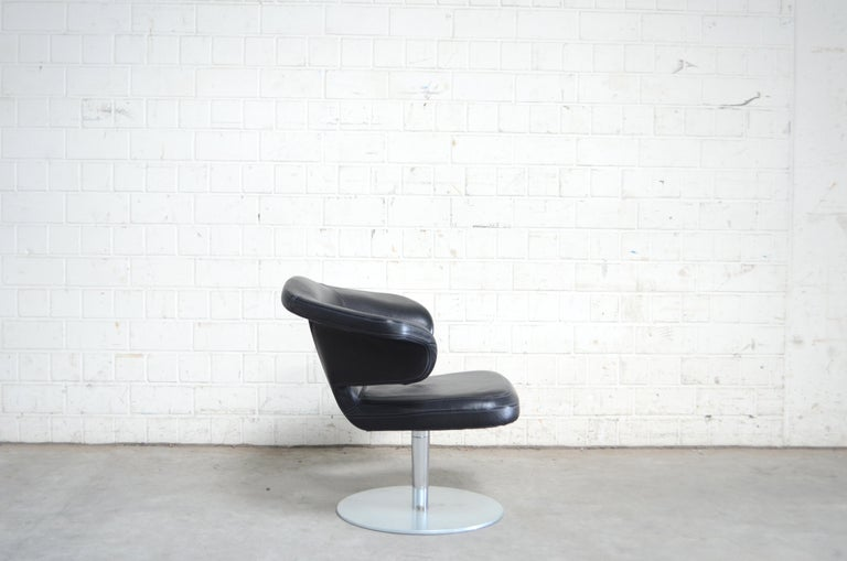 Rare Prototype of ClassiCon Munich Lounge Chair Black Leather For Sale 1