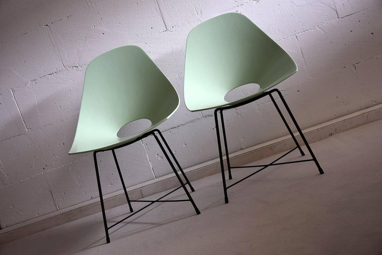Augusto Bozzi rare prototype set.  This prototype set of chairs were designed by Augusto Bozzi experimenting with pressed MDF. It seems that both the seats and the frame were made by hand since there is a slight difference in measurements.  Both