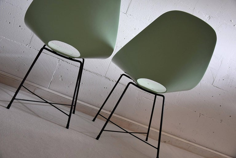 Metal Mid Century Modern Rare Prototype Set  Chairs by Augusto Bozzi For Sale
