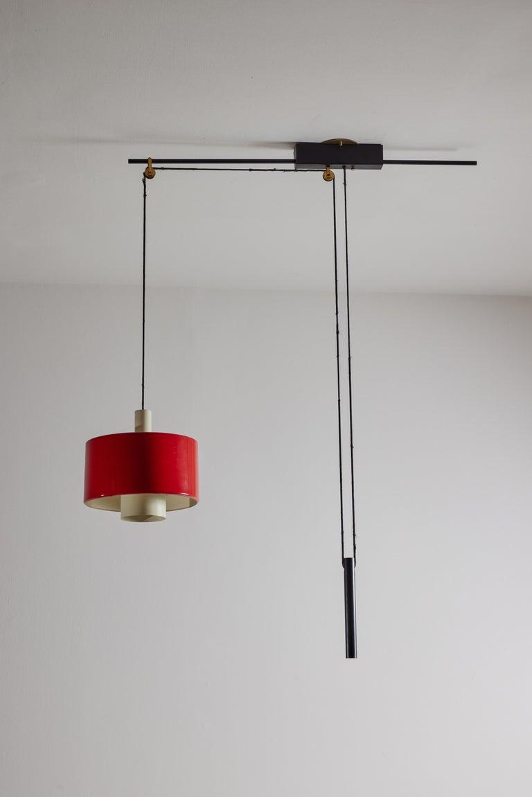 Rare Pulley Suspension Light by Gaetano Sciolari for Stilnovo For Sale 2