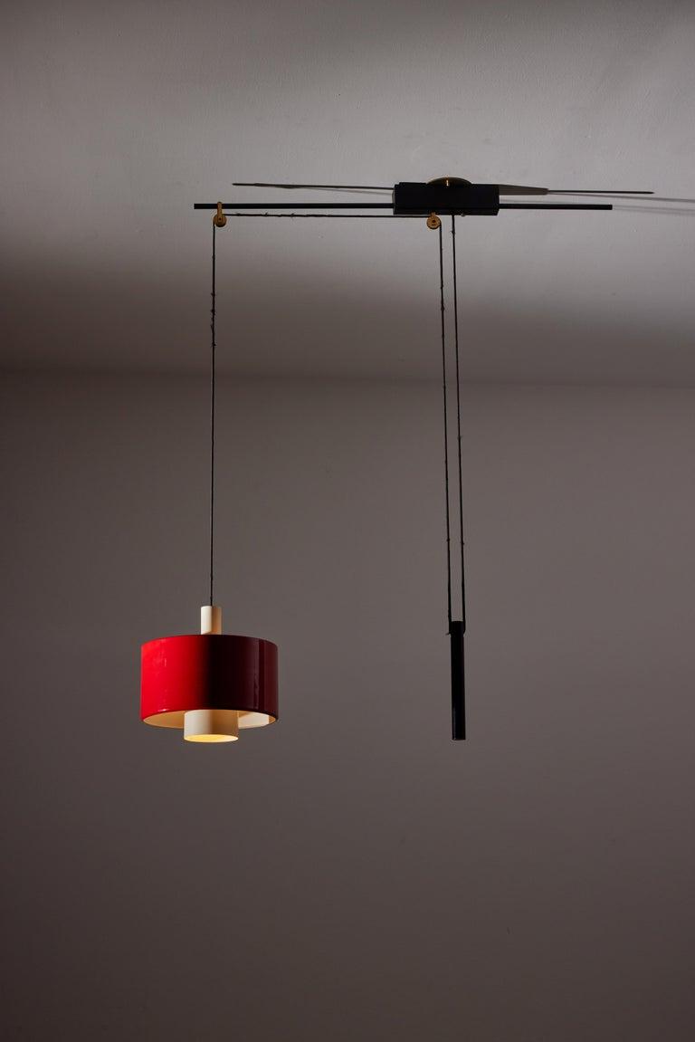 Mid-Century Modern Rare Pulley Suspension Light by Gaetano Sciolari for Stilnovo For Sale