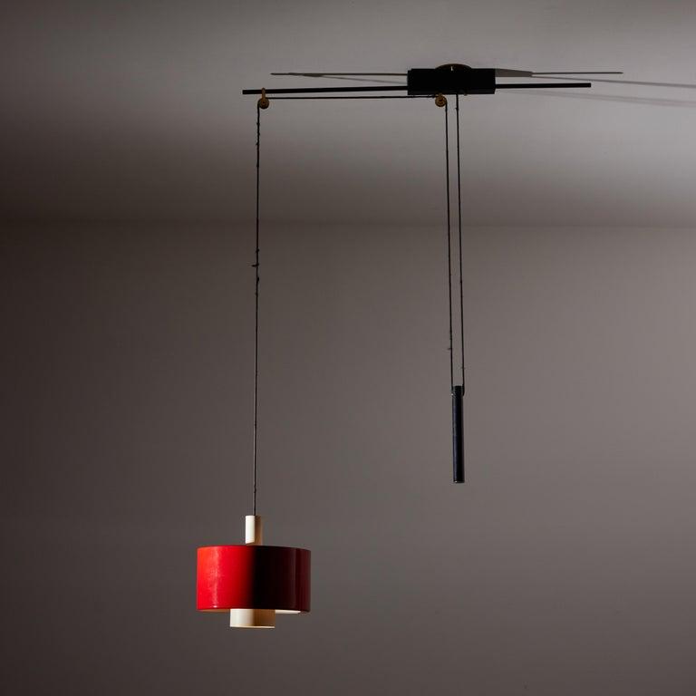 Enameled Rare Pulley Suspension Light by Gaetano Sciolari for Stilnovo For Sale