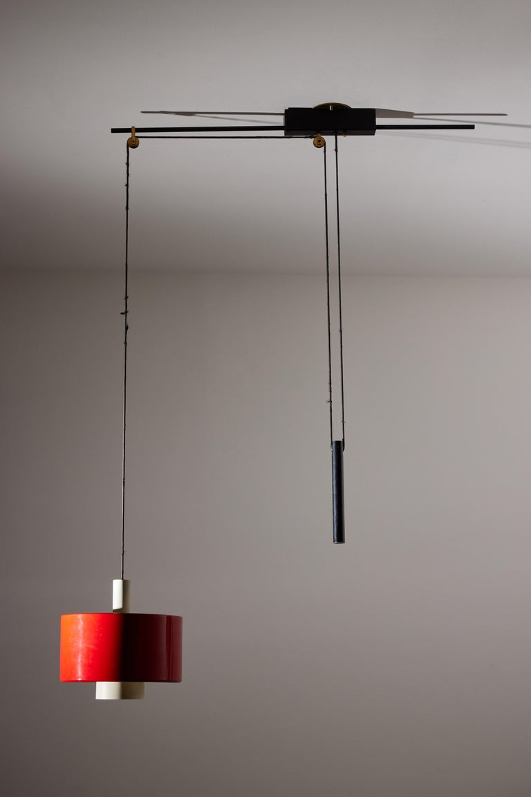 Mid-20th Century Rare Pulley Suspension Light by Gaetano Sciolari for Stilnovo For Sale