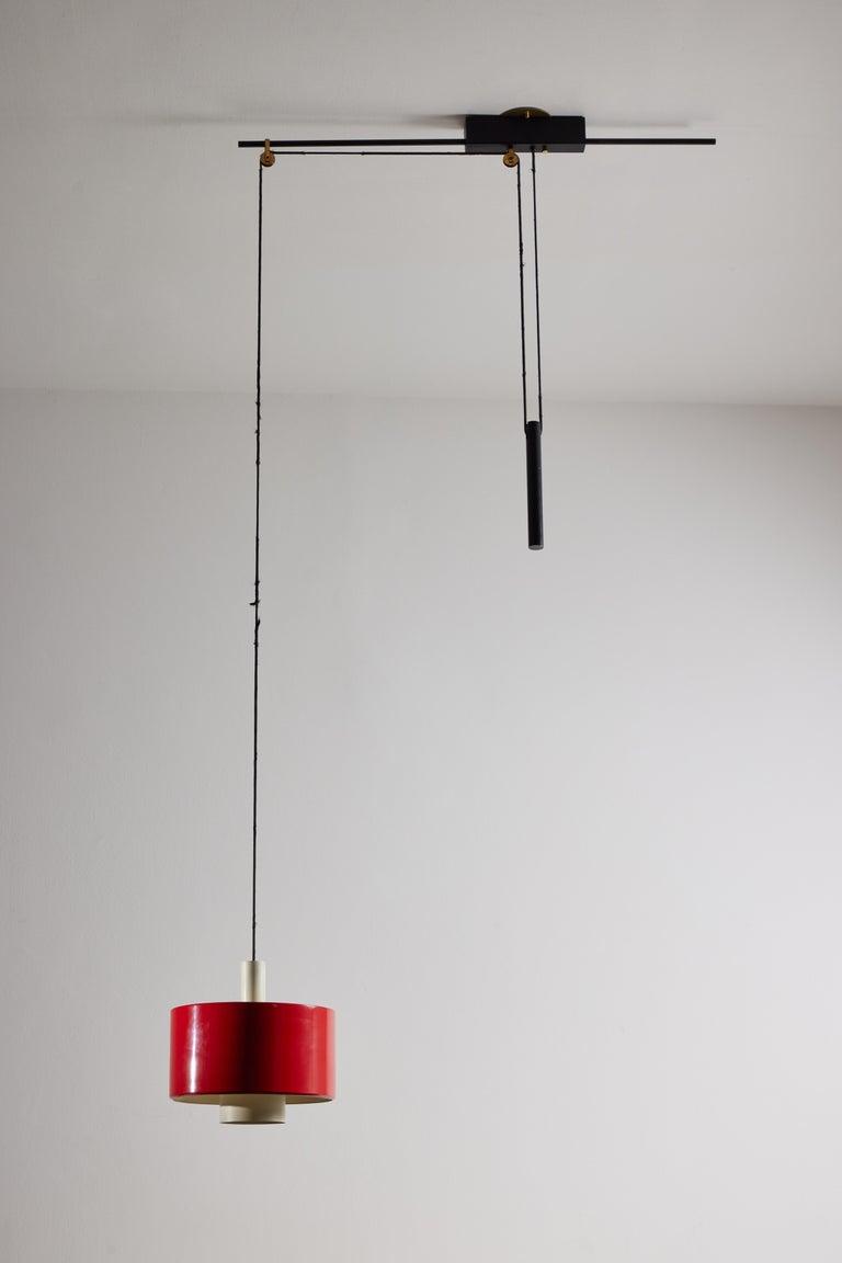 Rare Pulley Suspension Light by Gaetano Sciolari for Stilnovo For Sale 1