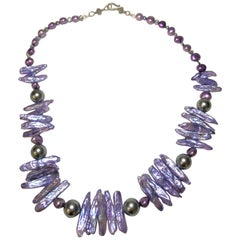 Rare Purple Dyed Stick and Round Pearl Necklace