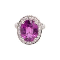 Rare Purple-Pink Tourmaline and Diamond Ring