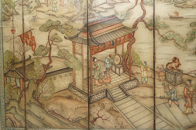 Lovely circa 1900-1920 Qing Dynasty Canvas Chinese 8-Panel Folding Screen For Sale 5
