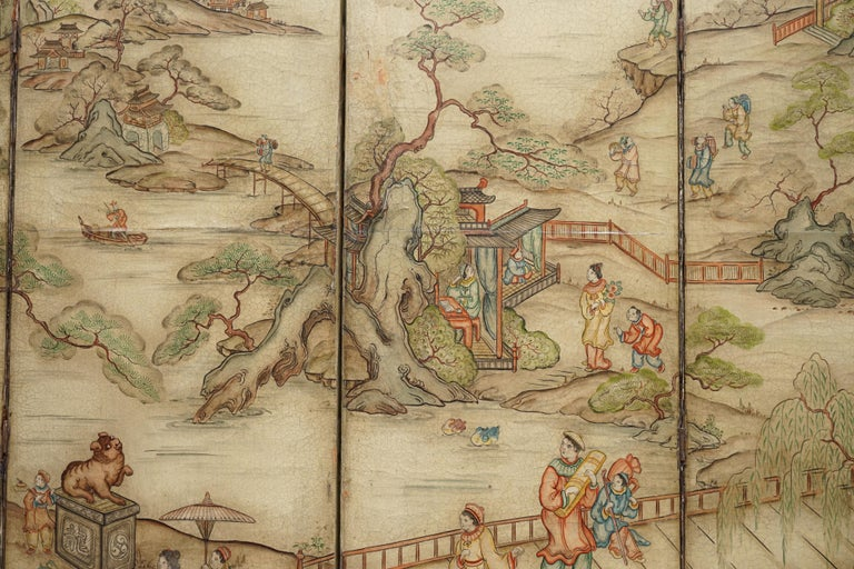 Lovely circa 1900-1920 Qing Dynasty Canvas Chinese 8-Panel Folding Screen For Sale 6
