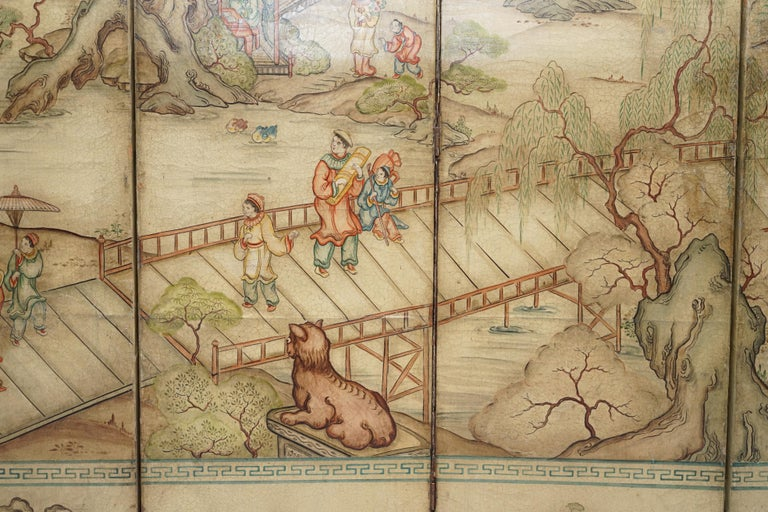 Lovely circa 1900-1920 Qing Dynasty Canvas Chinese 8-Panel Folding Screen For Sale 7