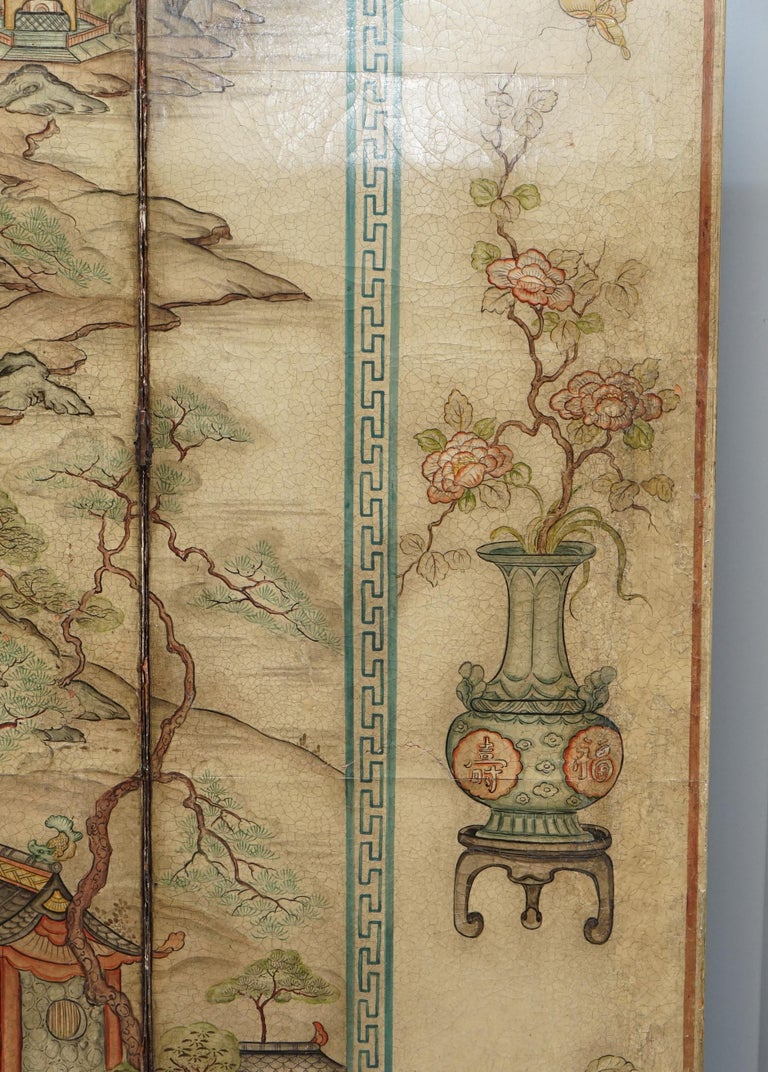 Lovely circa 1900-1920 Qing Dynasty Canvas Chinese 8-Panel Folding Screen For Sale 8