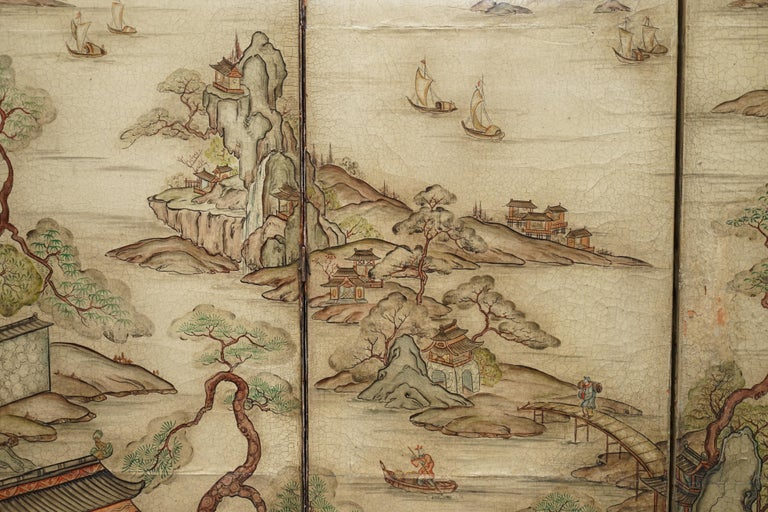 Lovely circa 1900-1920 Qing Dynasty Canvas Chinese 8-Panel Folding Screen For Sale 10