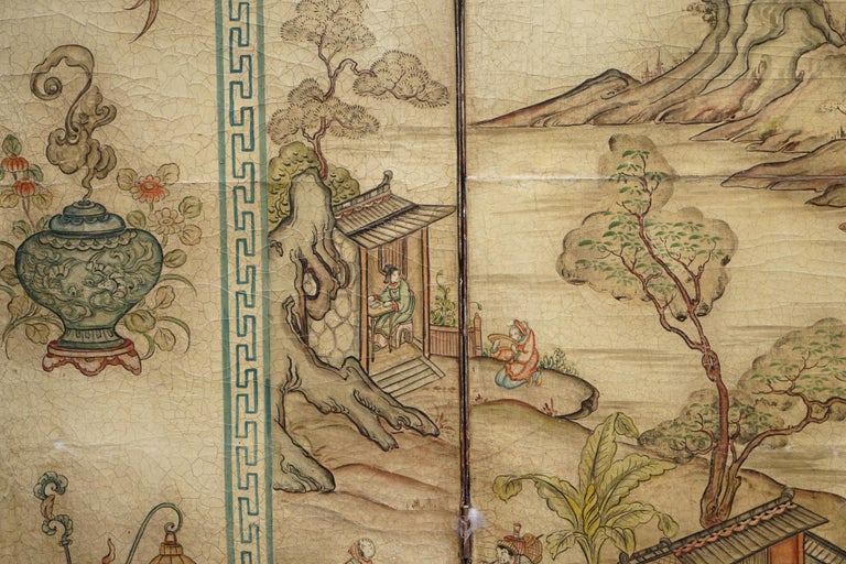 Lovely circa 1900-1920 Qing Dynasty Canvas Chinese 8-Panel Folding Screen For Sale 11