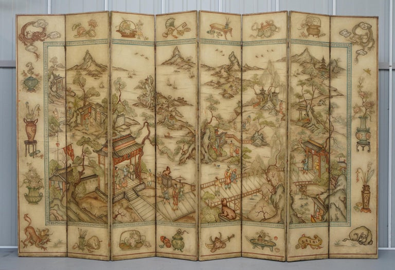 We are delighted to offer for sale this stunning original 1900-1920 Qing Dynasty hand painted canvas Chinese eight-panel folding screen   In terms of restoration absolutely nothing has been done to it and it is 100%