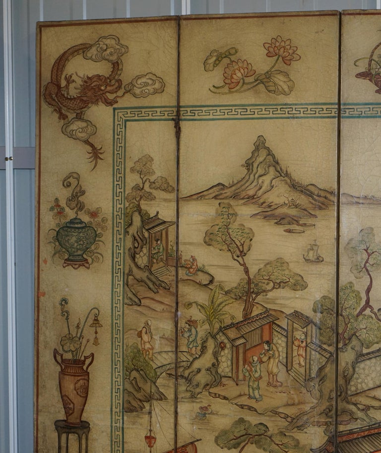 Chinoiserie Lovely circa 1900-1920 Qing Dynasty Canvas Chinese 8-Panel Folding Screen For Sale