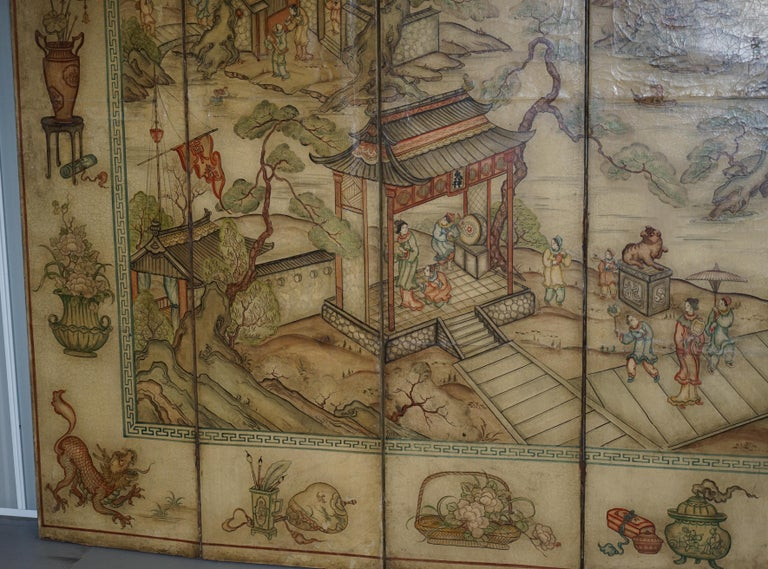 Hand-Crafted Lovely circa 1900-1920 Qing Dynasty Canvas Chinese 8-Panel Folding Screen For Sale
