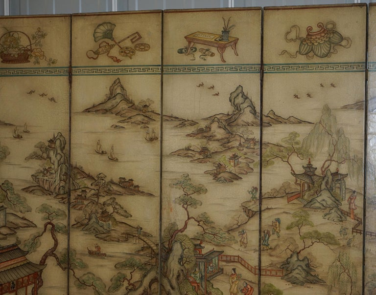 Lovely circa 1900-1920 Qing Dynasty Canvas Chinese 8-Panel Folding Screen In Good Condition For Sale In London, GB