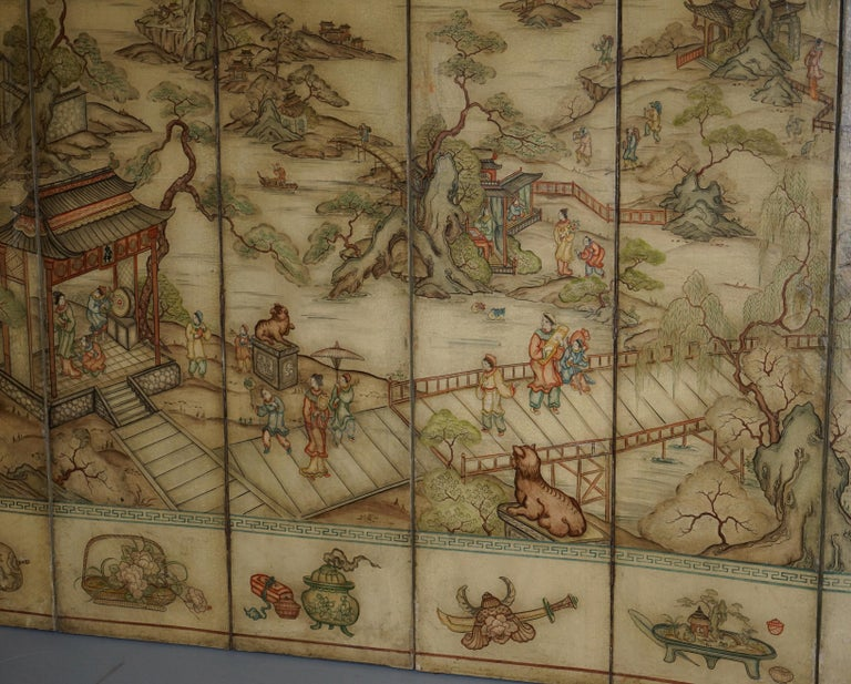 20th Century Lovely circa 1900-1920 Qing Dynasty Canvas Chinese 8-Panel Folding Screen For Sale