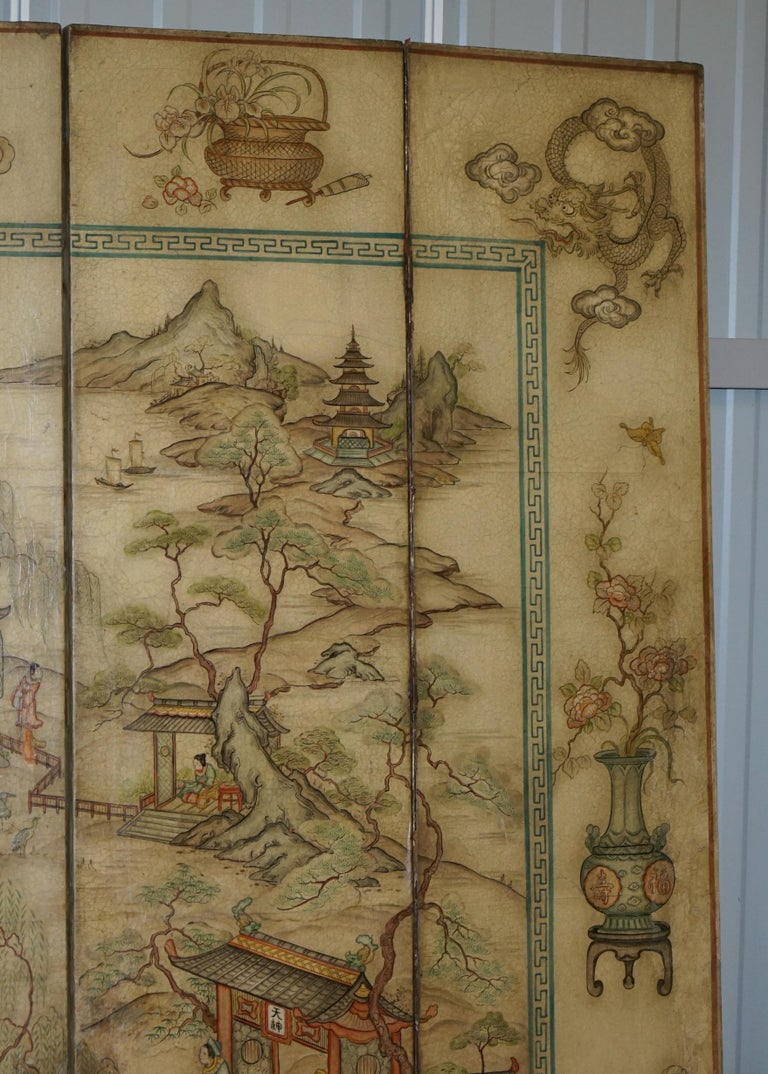 Lovely circa 1900-1920 Qing Dynasty Canvas Chinese 8-Panel Folding Screen For Sale 2