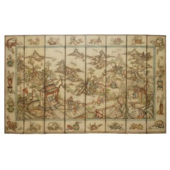 Rare Qing Dynasty Oil on Canvas Chinese 8 Panel Folding Screen