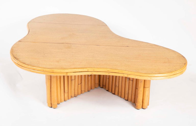 Rare Rattan Coffee Table Attributed to Paul Frankl For Sale 3