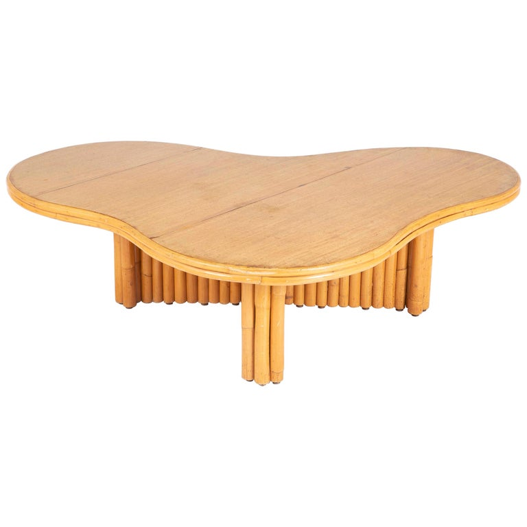 Rare Rattan Coffee Table Attributed to Paul Frankl For Sale