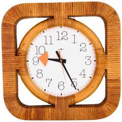 Rare Rattan Wall Clock Designed by Arthur Umanoff for Howard Miller