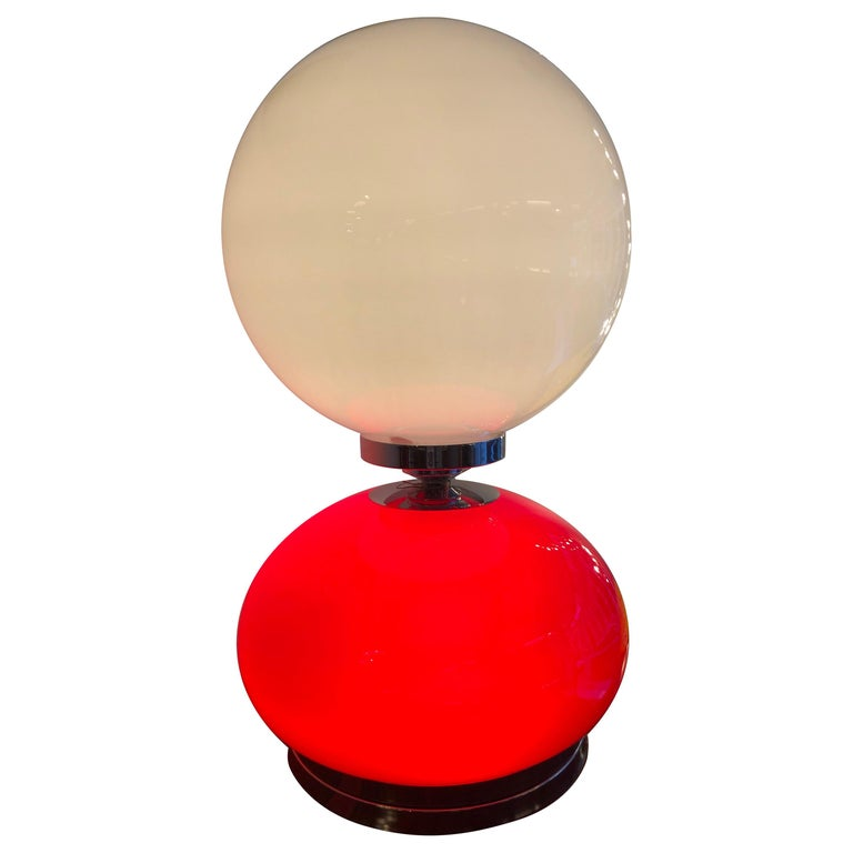 Rare Red and White Opaline Glass Table Lamp, 1970s For Sale