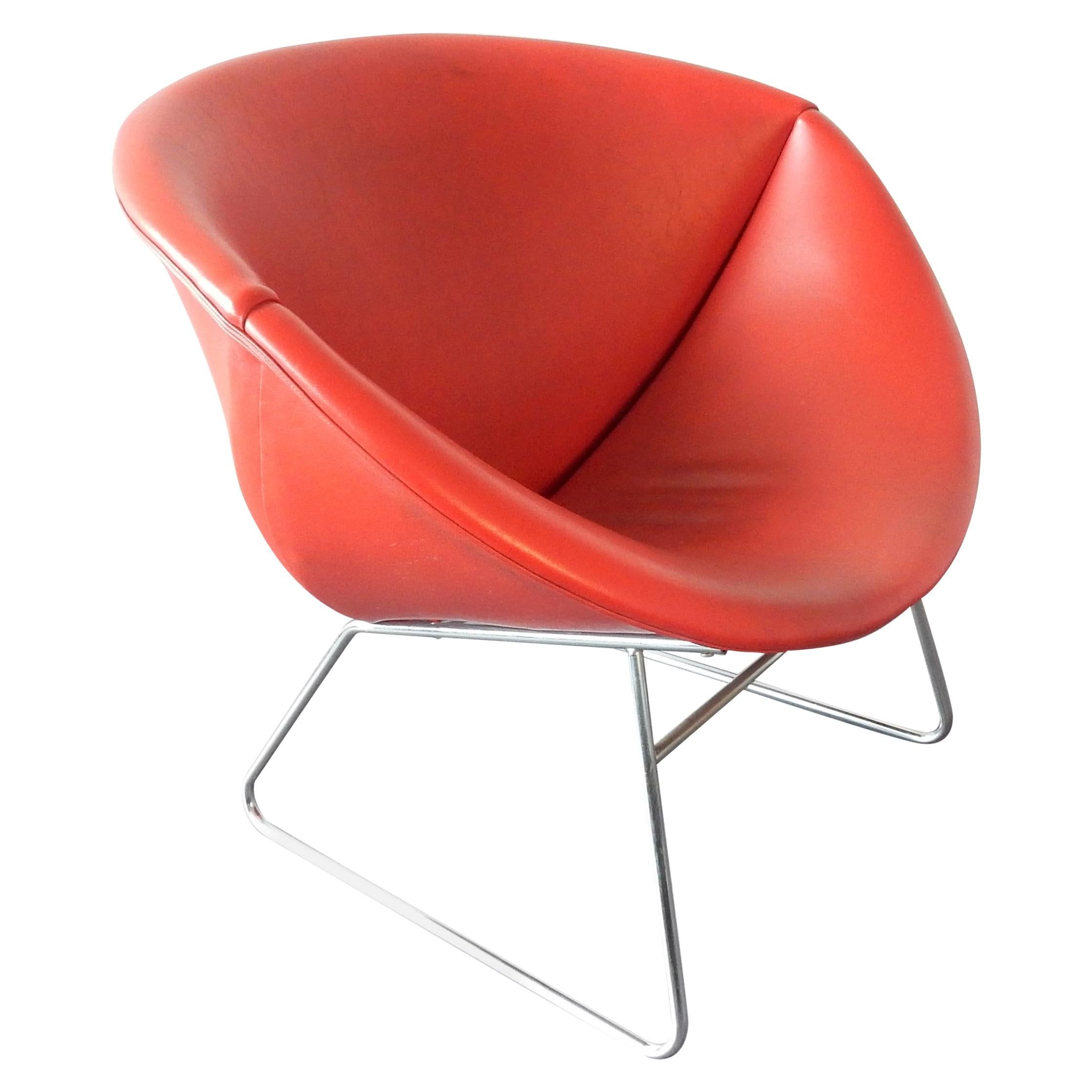 Rare Red Cocco Lounge Chair by JH. Rohe for Rohé Noordwolde, Netherlands, 1970s