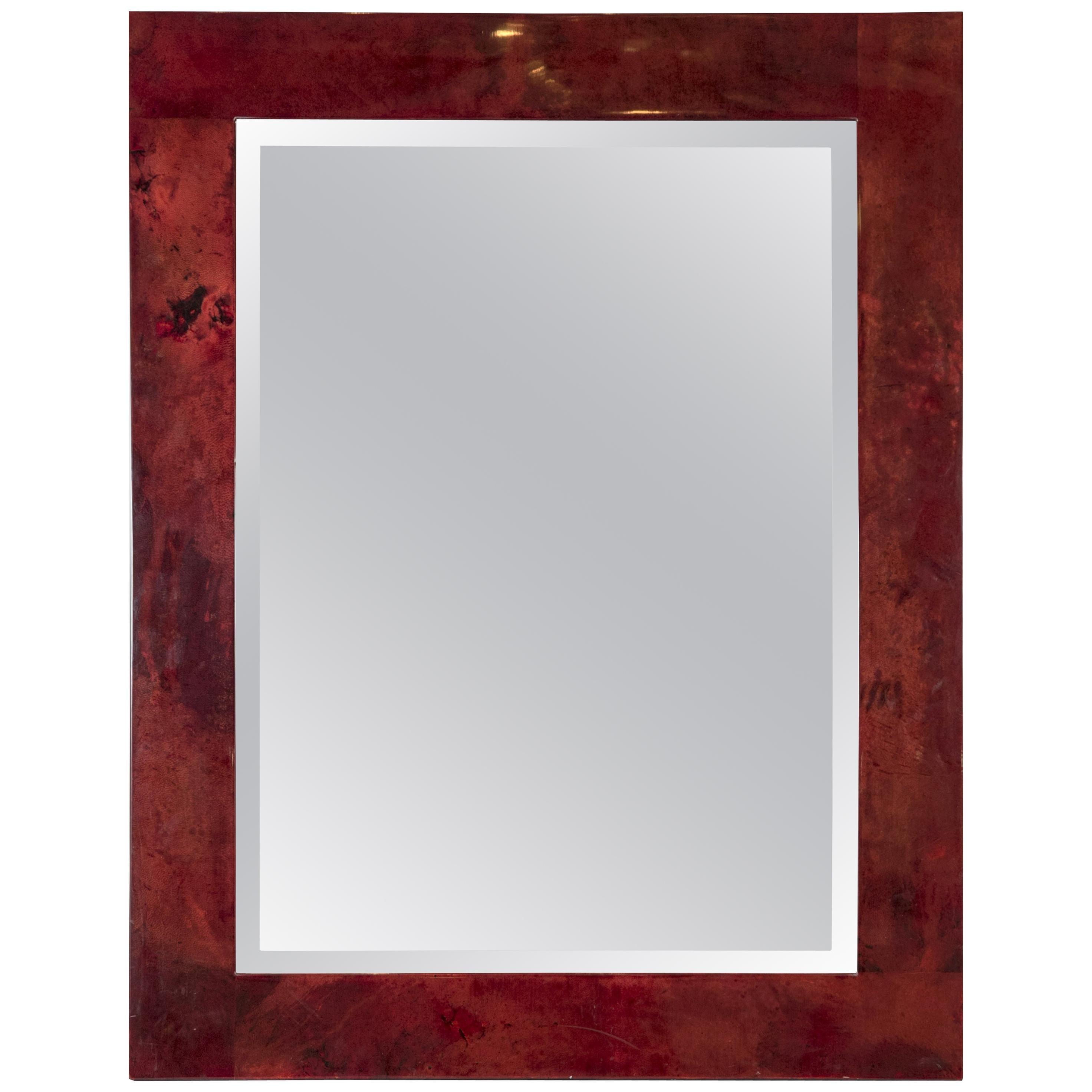 Rare Red Goatskin Wall Mirror by Aldo Tura