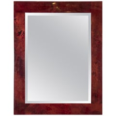 Rare Red Goatskin Wall Mirror by Aldo Tura