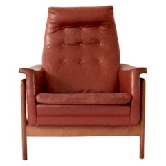 Rare Red Leather Mid-Century Modern Folke Ohlsson `Arizona` Chair for DUX, 1960s