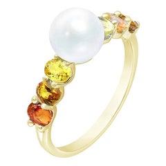 Rare Red / Yellow / Orange Sapphire Pearl Diamond Yellow Gold Ring