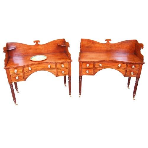 Rare Regency Mahogany Pair of Concave Dressing Tables