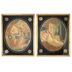 Rare Regency Period Embroidered and Hand Painted Silk Mourning Pictures, Pair